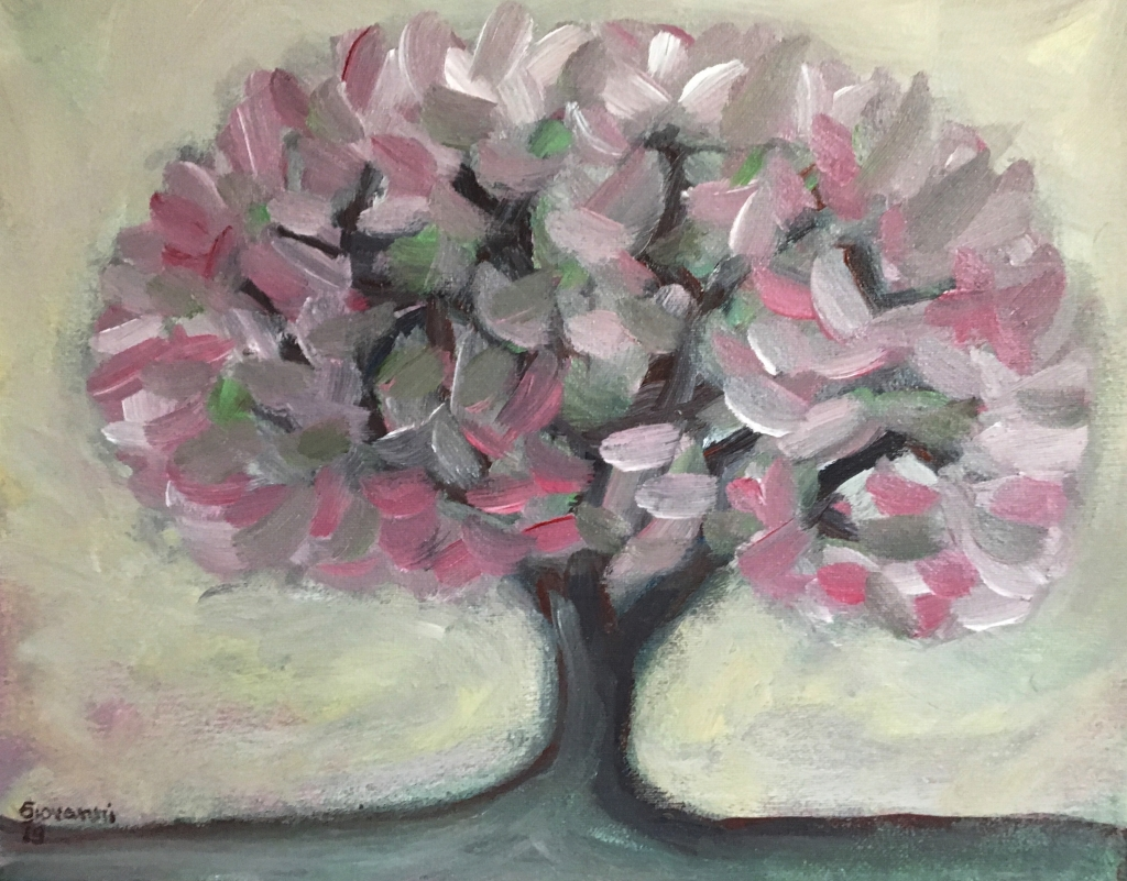 Painting of a blossom cherry tree. It is a 11 in x 16 in acrylic on canvas.