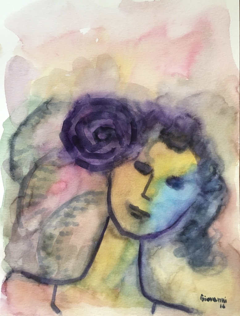 Woman with purple flower