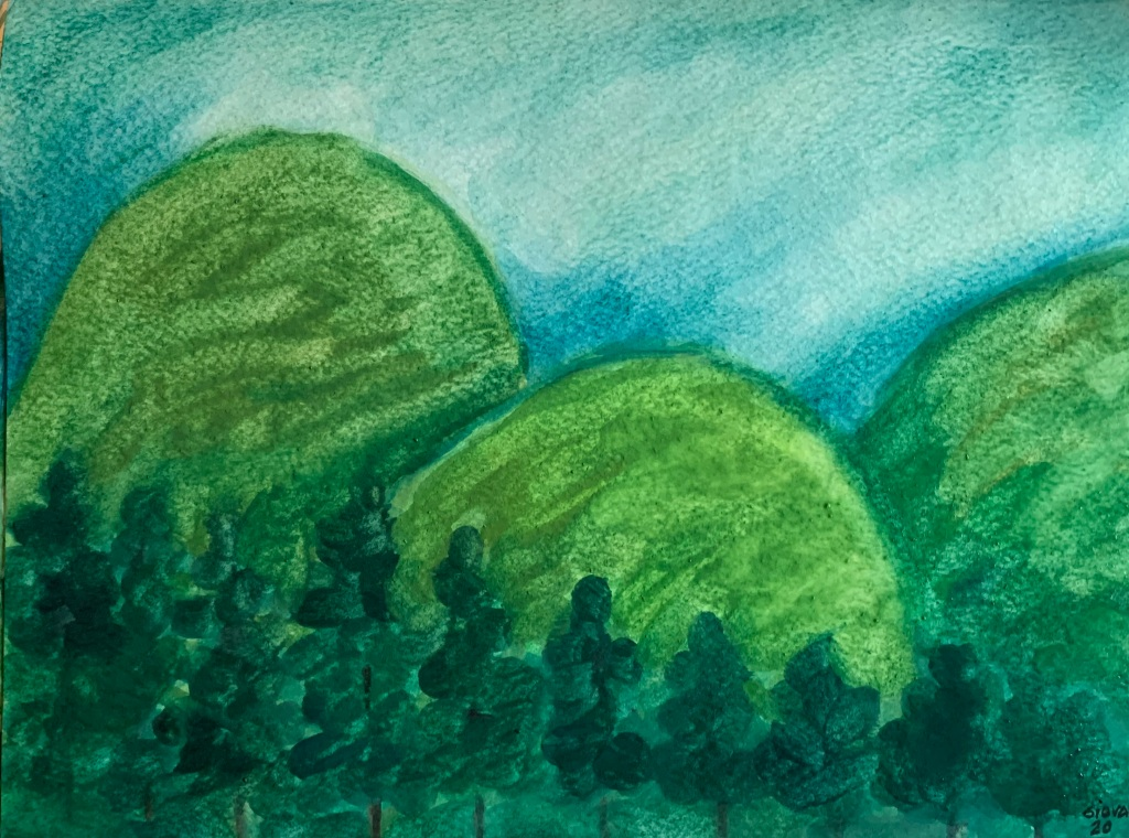 The image show a painting about Small Hills - Lomitas, a watercolor painting on paper 2020.